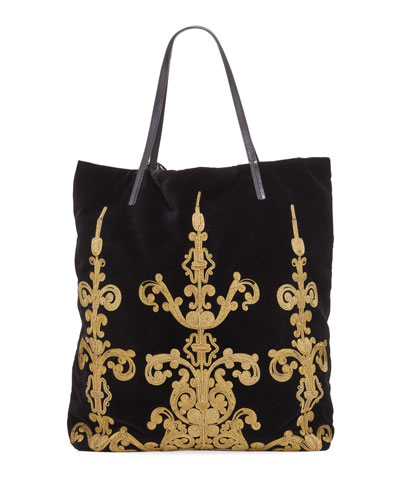 Shopping Embroidered Pochette Tote Bag