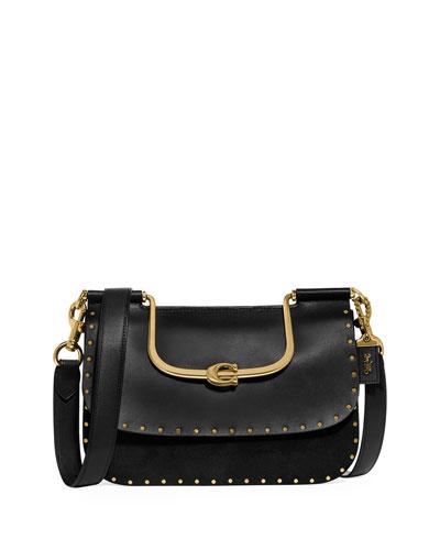 Ellie Mixed Leather Rivets Crossbody Bag