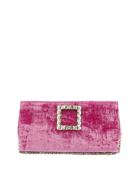 Roger Vivier Sweet Vivier Crushed Velvet Crystal-Buckle Clutch Bag