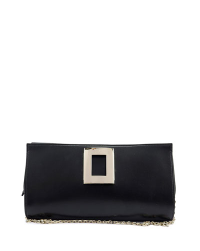 Sweet Vivier Metal-Buckle Clutch Bag