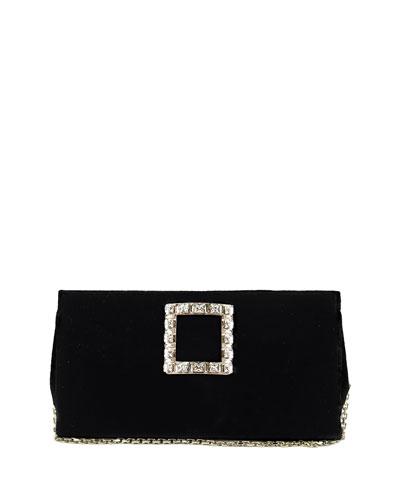 Sweet Vivier Velvet Crystal-Buckle Clutch Bag