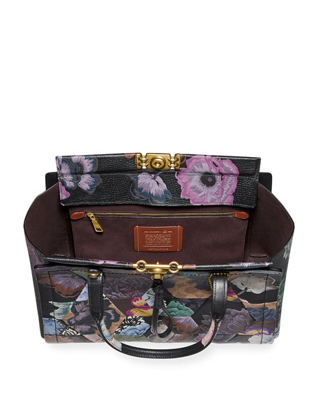 Coach 1941 x Kaffe Fassett Bar Carryall 35 Coated Canvas Signature Bag with OTT Print