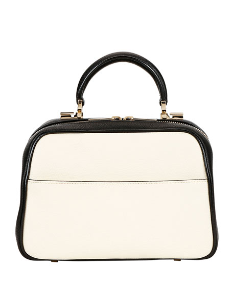 Valextra Saffiano Small Top-Handle Boxy Bag