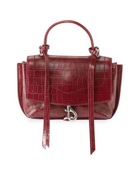 Rebecca Minkoff Stella Mini Crocodile-Embossed Crossbody Bag