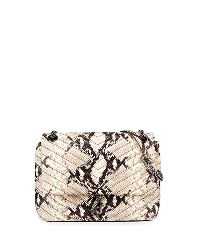 Edie Python-Print Flap Tote Bag