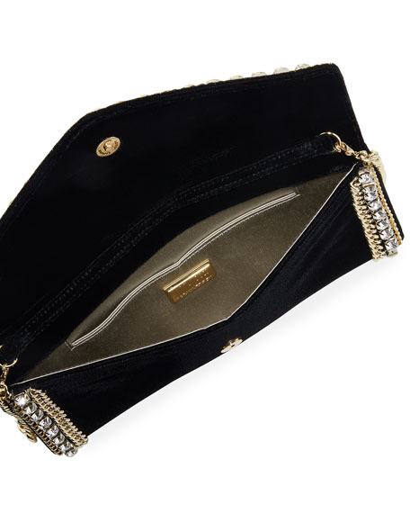 Judith Leiber Couture Envelope Velvet Clutch Bag