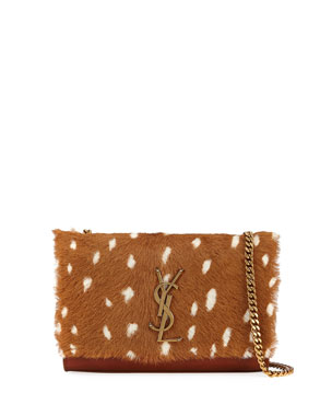 8971238bac20 Saint Laurent Sunset Small Monogram YSL Deer-Print Shoulder Bag