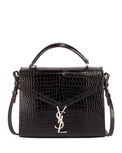Cassandra YSL Monogram Crocodile-Embossed Top-Handle Bag