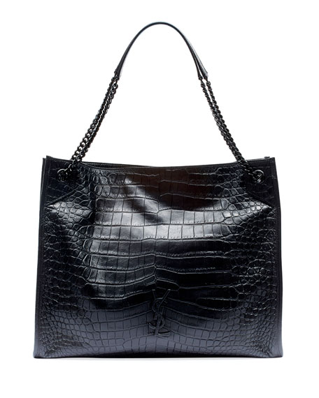 Saint Laurent Niki Crocodile-Embossed Shoulder Bag