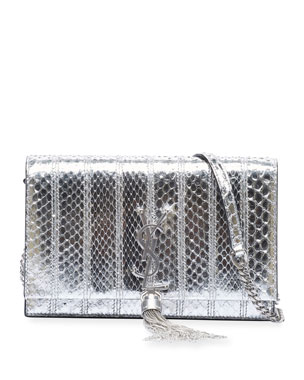 b81f4243d9f Saint Laurent Kate YSL Tassel Metallic Python Wallet on Chain