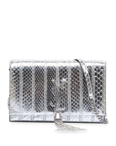Kate YSL Tassel Metallic Python Wallet on Chain