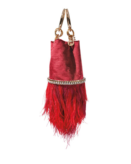 Image 2 of 2: Rosantica Ghizlan Velvet Feather Minaudiere Bag