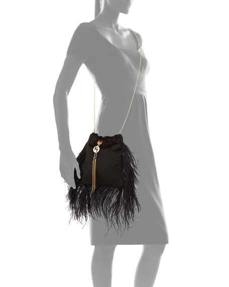 Image 3 of 3: Mademoiselle Velvet Feather Clutch Bag