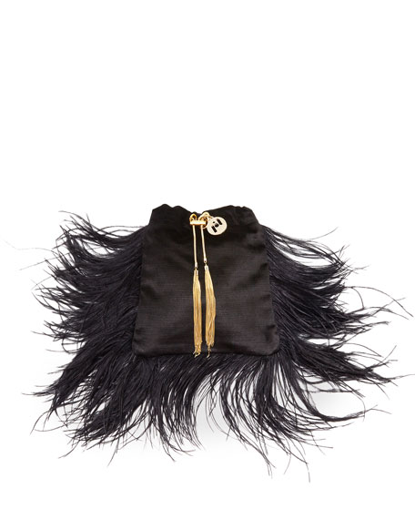 Image 1 of 3: Mademoiselle Velvet Feather Clutch Bag