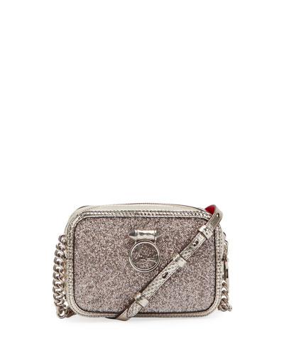 RubyLou Mini Glitter Cubiste Crossbody Bag
