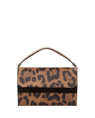 da7b92bb08a Christian Louboutin Loubiblues Leopard-Print Clutch Bag with Empire Spikes