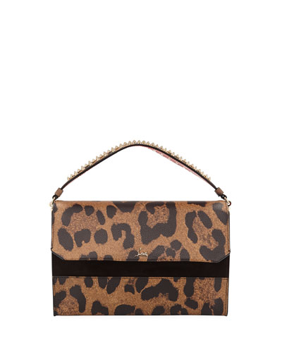 Loubiblues Leopard-Print Clutch Bag with Empire Spikes