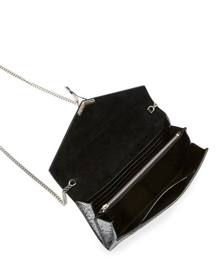 Saint Laurent Cassandra Medium YSL Metallic Wallet On Chain