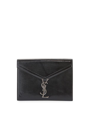 598206d4b4a Saint Laurent Cassandra Medium YSL Metallic Wallet On Chain