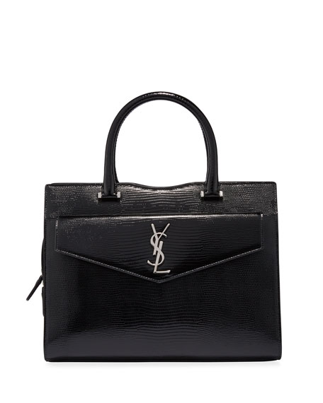 Image 1 of 4: Uptown Medium YSL Lizard-Embossed Satchel Bag