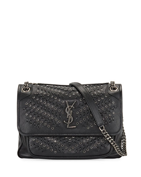 Saint Laurent Niki Medium YSL Grommet & Topstitch Leather Shoulder Bag