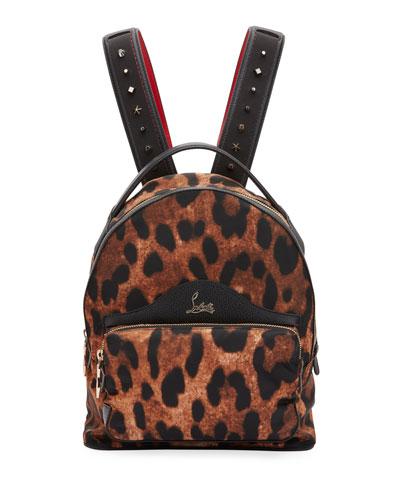 BackLoubi Small Leopard-Print Nylon Backpack