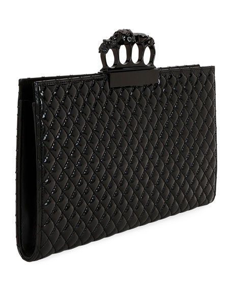 Alexander McQueen Small Quilted Patent Flat Knuckle Clutch Bag