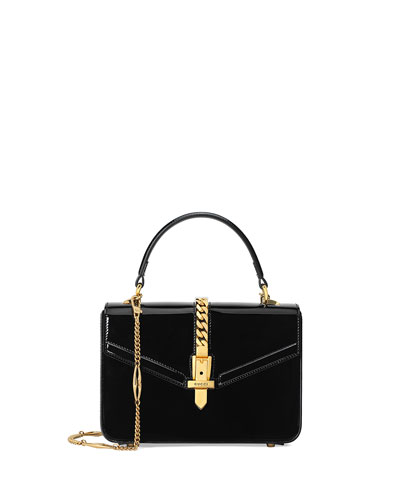 Sylvie Mini Patent Top Handle Bag