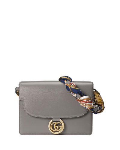 GG Ring Medium Leather Shoulder Bag with Silk Foulard