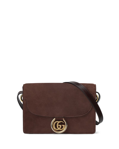 GG Ring Small Suede Crossbody Bag