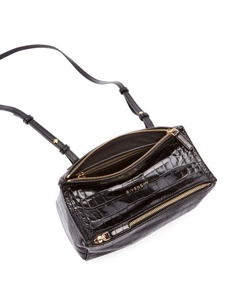 Givenchy Pandora Mini Crocodile-Embossed Crossbody Bag