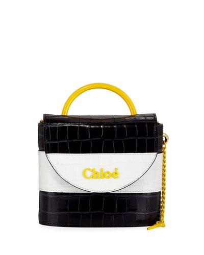 Aby Lock Crocodile-Embossed Crossbody Bag