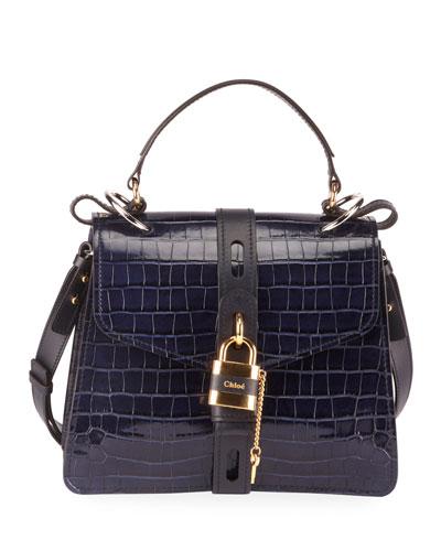 Aby Croc-Embossed Shoulder Bag