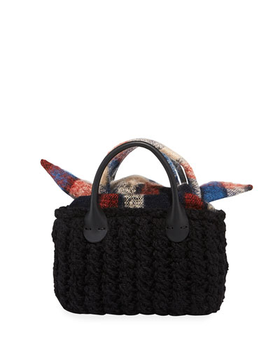 Panier Rib Mini Hand-Knit Top-Handle Bag