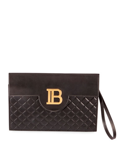 B Pouch Quilted Lambskin Logo Clutch Bag