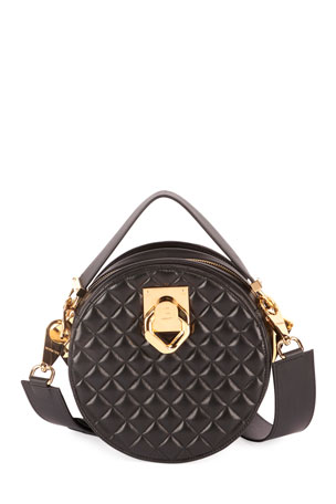 Balmain Twist Quilted Lambskin Crossbody Bag