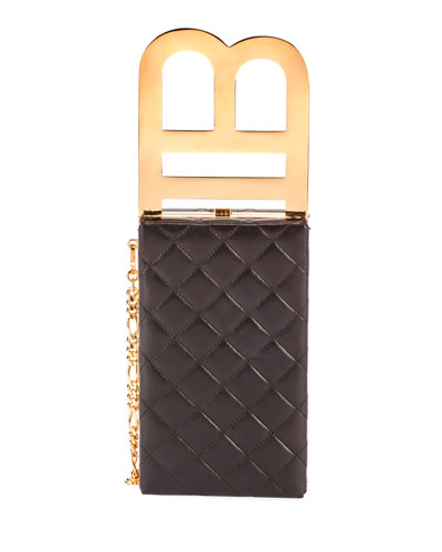 B Quilted Minaudiere Bag with Metal Handle