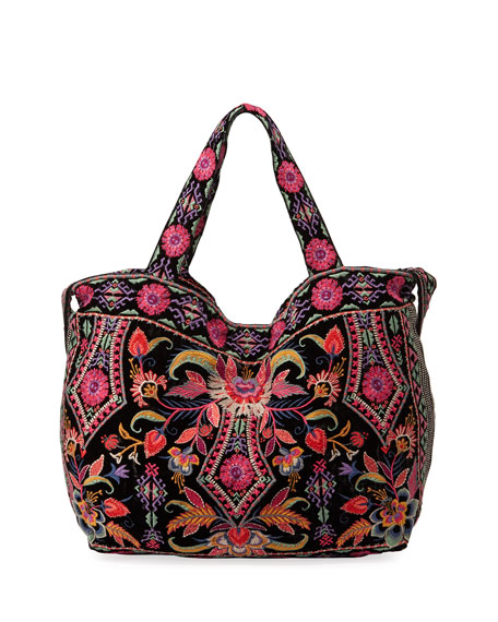 Johnny Was Ioana Embroidered Velvet Tote Bag