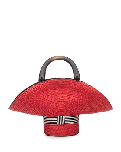 Medium Sized Straw Tote Bag  Red