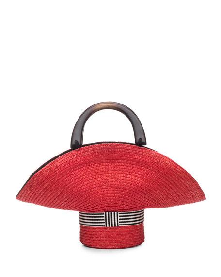Eugenia Kim Medium Sized Straw Tote Bag, Red