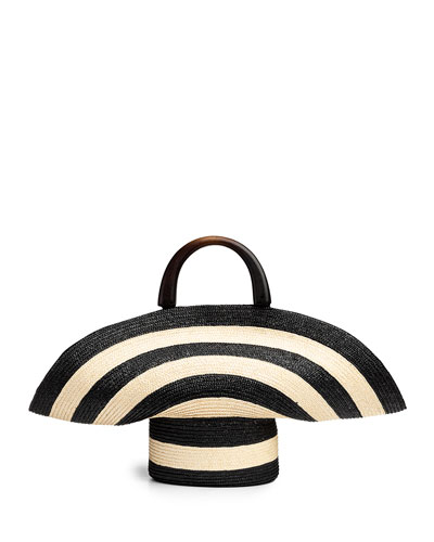 Large Striped Woven Beach Tote Bag