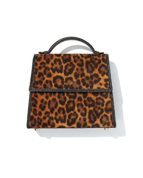 Image 2 of 4: Hunting Season Small Leopard-Print Suede Top-Handle Bag