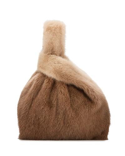 Furrissima Ombre Mink Fur Shopper Tote Bag  Brown