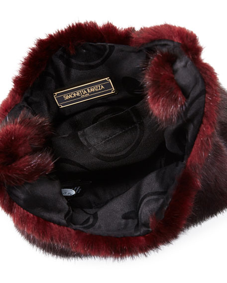Image 2 of 3: Furrissima Baby Mink Fur Shopper Tote Bag, Magenta