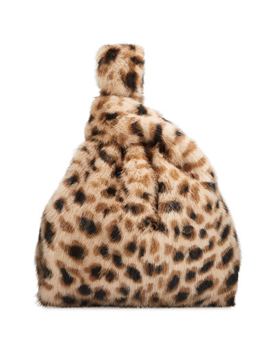 Furrissima Leopard Mink Fur Shopper Tote Bag