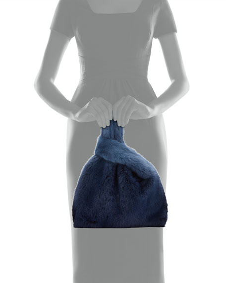 Image 3 of 3: Furrissima Ombre Mink Fur Shopper Tote Bag, Blue
