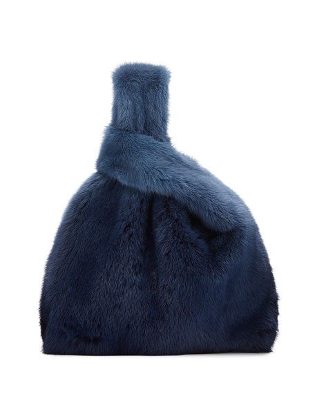 Image 1 of 3: Furrissima Ombre Mink Fur Shopper Tote Bag, Blue