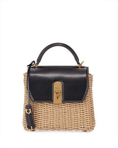 Boxyz Cord Woven Two-Tone Satchel Bag