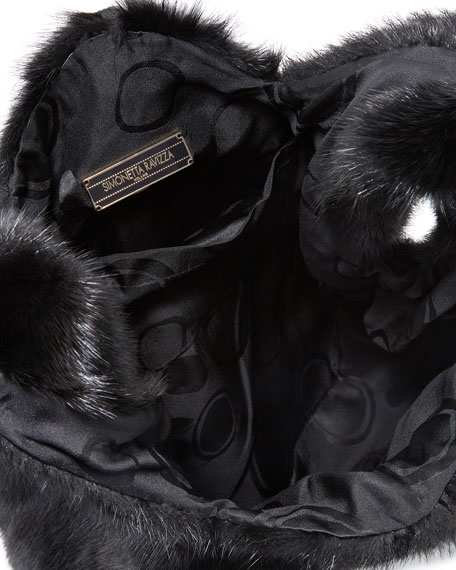 Image 2 of 3: Furrissima Mink Fur Shopper Tote Bag, Black