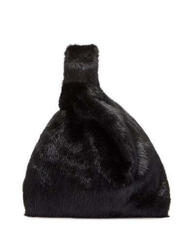 Furrissima Mink Fur Shopper Tote Bag  Black